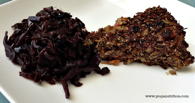 nut roast with red cabbage