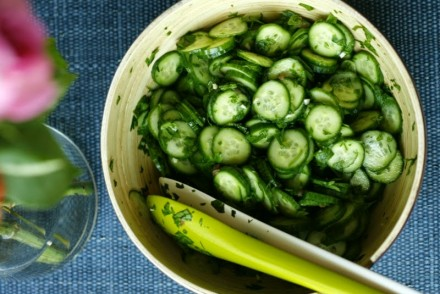Detox salad with cucumber and parsley